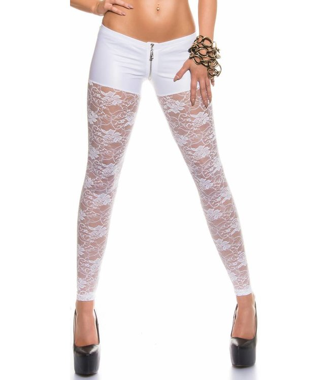 witte legging kant/wetlook - classywear