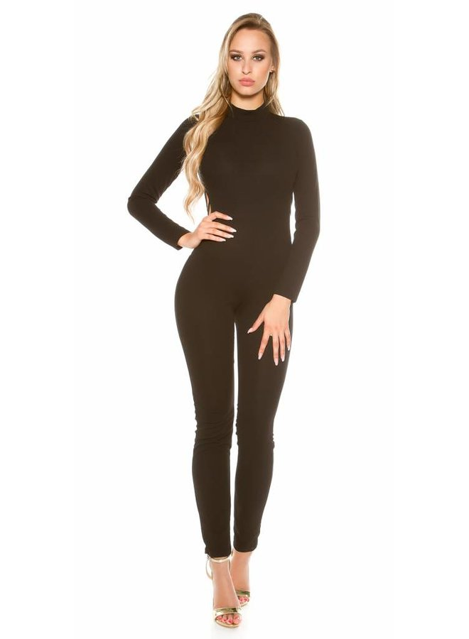 Zwarte jumpsuit met open rug