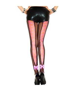 Music Legs Zwarte panty met roze rijgveter