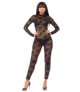 Forplay Strakke jumpsuit zwart kant