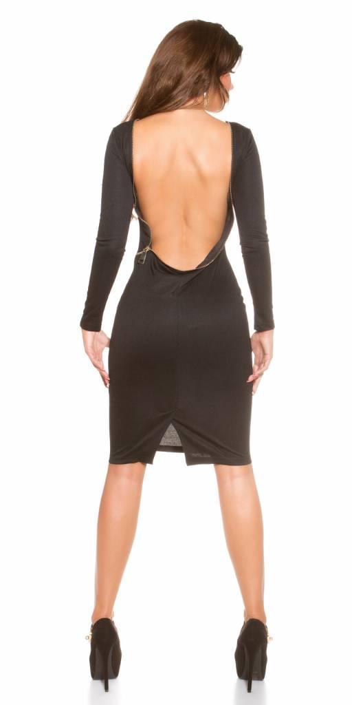 Zwarte jurk met open rug