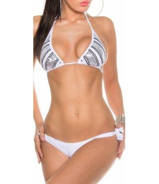 Witte bikini met pailletten