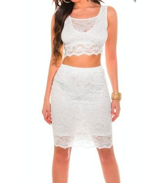 Witte kanten top + rok