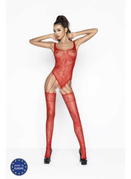 Passion Bodystocking body/jarretel (rood)