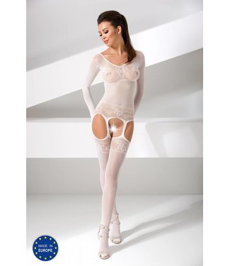 Passion Witte bodystocking lange mouw