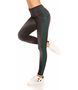 Jeans look legging groene streep