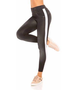 Jeans look legging witte streep