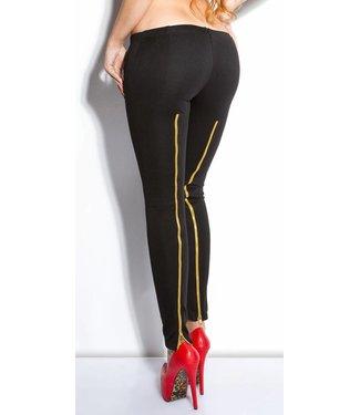 Zwarte legging met gouden rits
