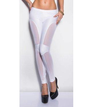 Witte legging met netstof