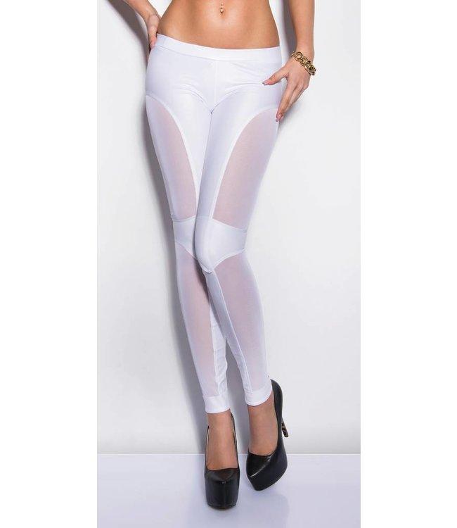 witte legging met netstof - classywear