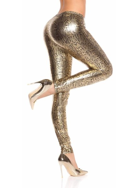 Slangenprint legging metallic goud