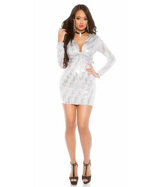 ClassyWear Zilveren glitter mini-jurkje