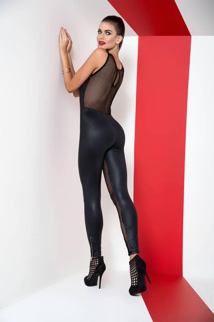 Zwarte netstof jumpsuit
