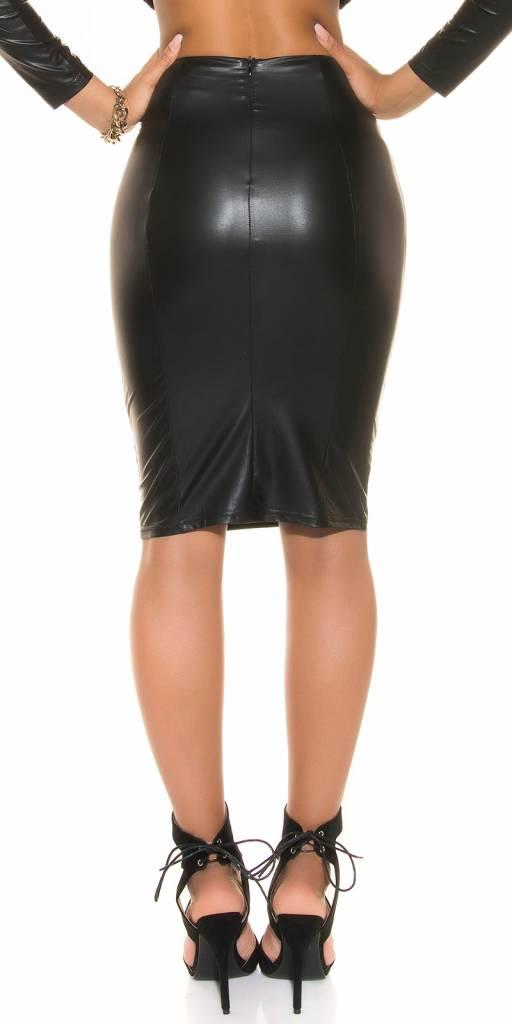 Leatherlook pencil skirt (zwart)