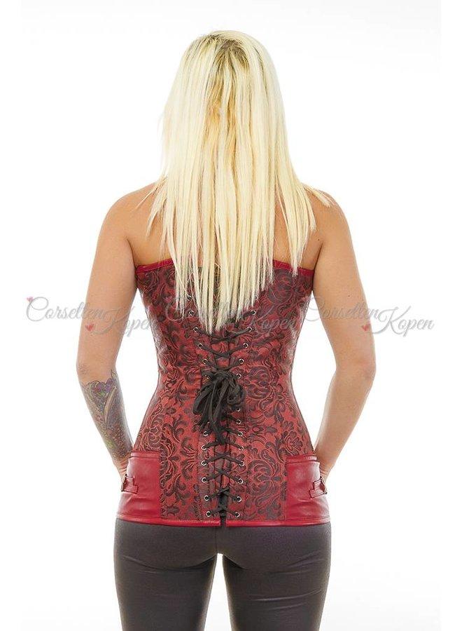 Rood lang gebloemd corset