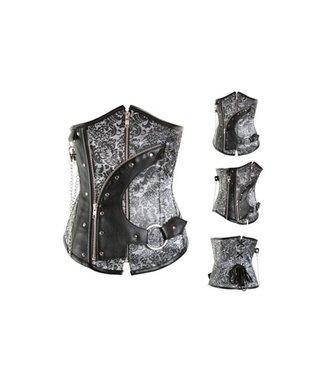 Grijs/zwart underbust corset