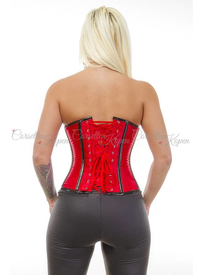 Rood underbust corset met zwarte details
