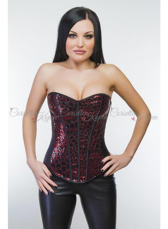 Pailletten corset zwart/rood