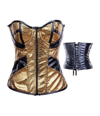 Gouden corset met ritssluiting aan voorzijde