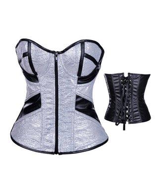 Zilver corset met ritssluiting aan voorzijde