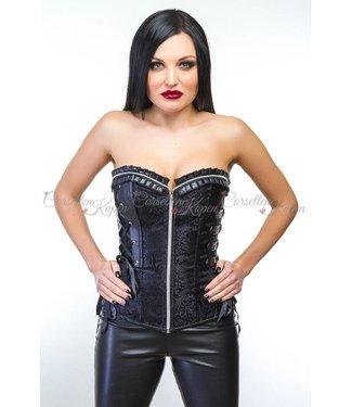 Zwart strapless PVC corset