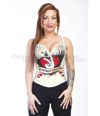 Corsetten Wit corset met playboy print