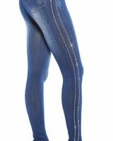 Blauwe jeans-look legging met steentjes