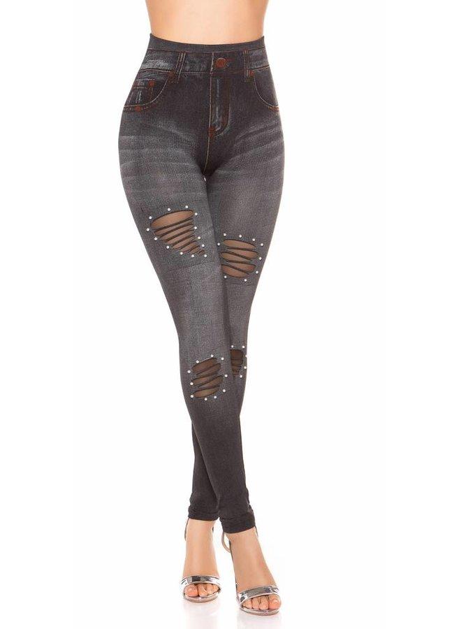 Grijze jeans-look legging met parels