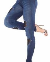 Blauwe jeans-look legging met parels