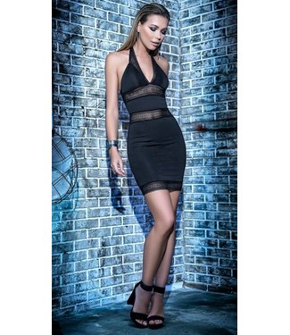 Mapalé Zwart halter jurkje met kant