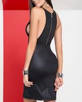 Mapalé Zwart wetlook jurkje met rits