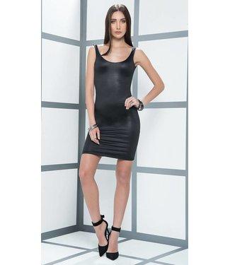 Mapalé Zwart wetlook jurkje