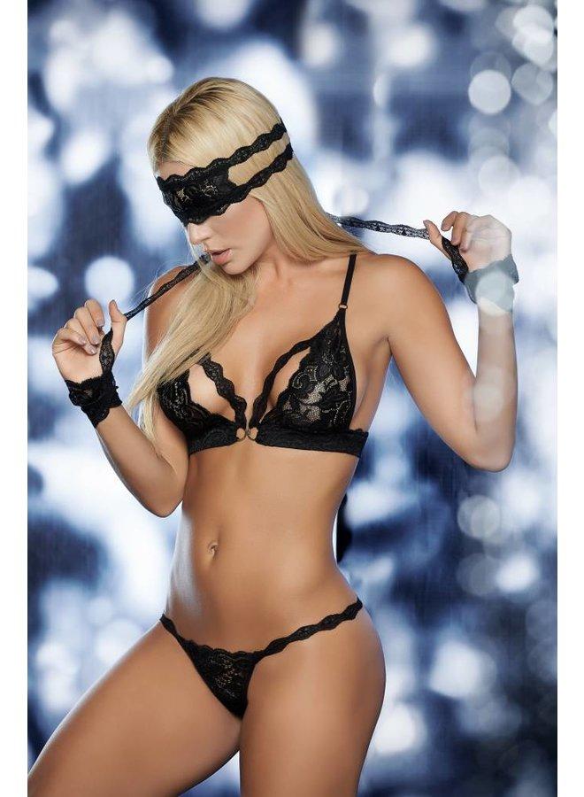 Zwart lingerie setje (4-delig)
