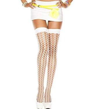 Music Legs Witte kous met gebreide look