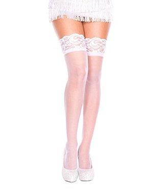 Music Legs Witte kous met kanten elastische band