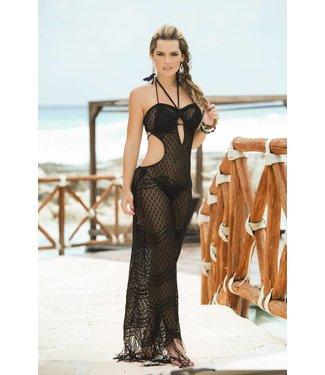 Doorschijnende zwarte strandjurk