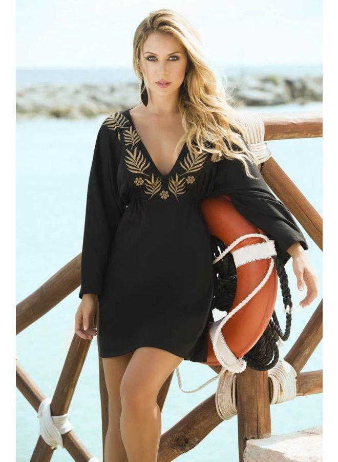 Zwart strandjurkje met gouden details