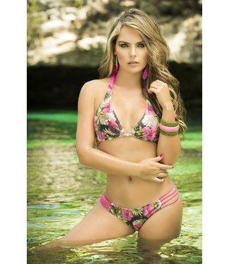 Halter bikini roze/print