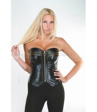 Zwart leatherlook corset met rits