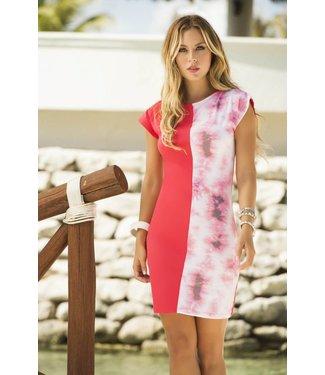 Koraalkleurig jurkje met print