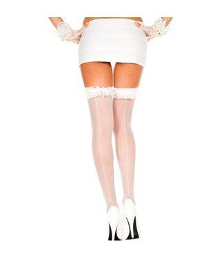 Music Legs Witte kous met rouches en naad