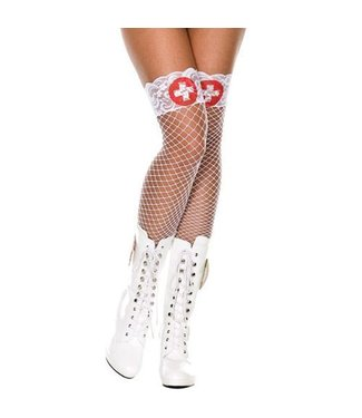 Music Legs Witte netkous met dokterskruis