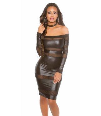 Zwarte wetlook jurk