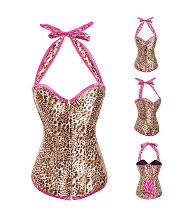 Halter corset met panterprint