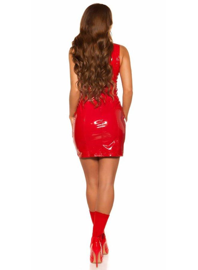 Rood lak/pvc jurkje