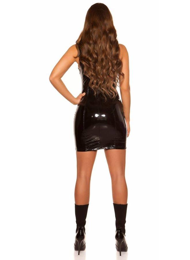 Zwart lak/pvc jurkje