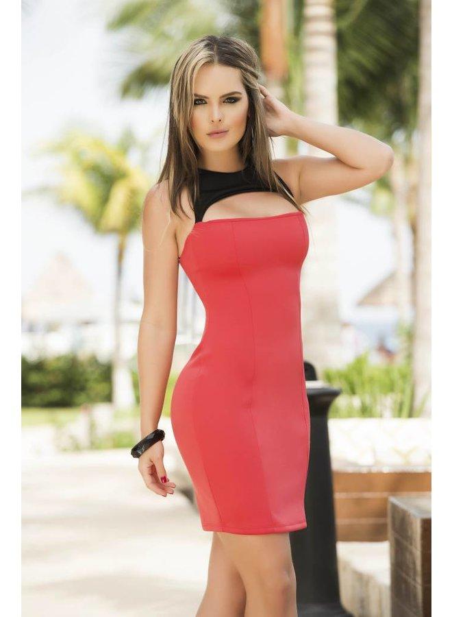 Koraalkleurig jurkje met open detail