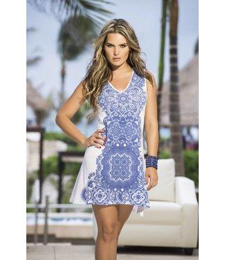 Wit jurkje met blauwe print