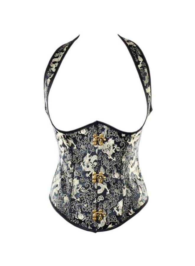Zwart underbust (halter) corset met gouden print