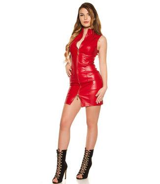 Rood leatherlook jurkje met rits